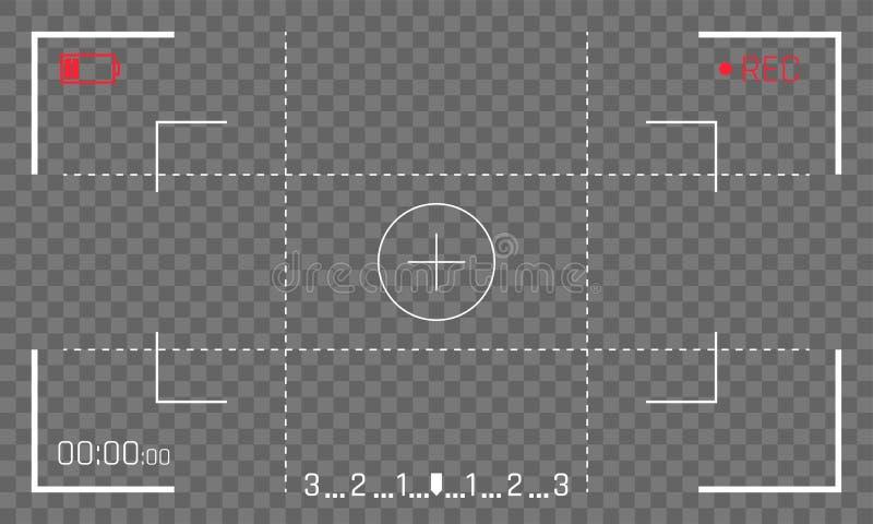Visualizzatore digitale del videoregistratore di vettore dello schermo del mirino della struttura della macchina fotografica su f royalty illustrazione gratis
