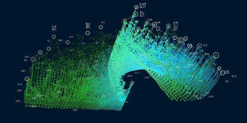 Visualizzazione astratta 3D Grandi dati Fondo futuristico di infographics Rappresentazione di analisi dei dati di affari e della  illustrazione di stock
