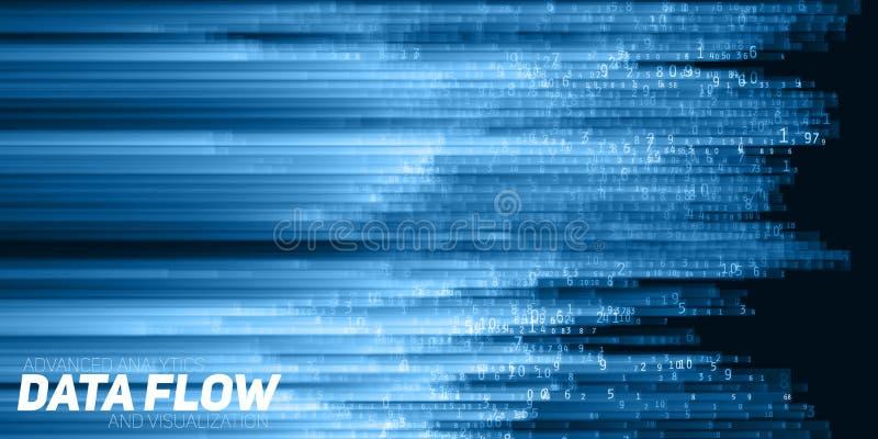 Visualizzazione astratta di dati di vettore grande Flusso blu dei dati come corde di numeri Rappresentazione di codice di informa royalty illustrazione gratis