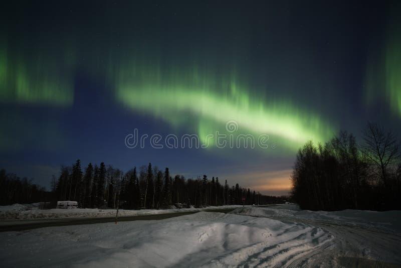 Visualizzazione attiva degli indicatori luminosi nordici nell'Alaska fotografia stock