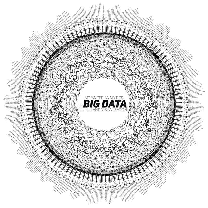 Visualizzazione circolare di gradazione di grigio di grandi dati Infographic futuristico Progettazione estetica di informazioni C illustrazione di stock