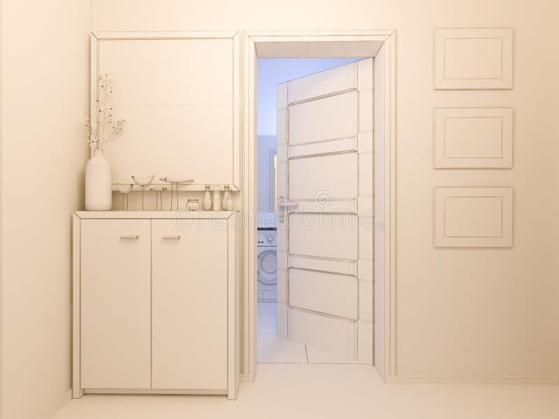 visualizzazione 3D del corridoio di interior design in un appartamento di studio royalty illustrazione gratis