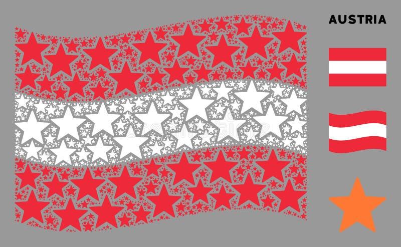 Visualizzazione del collage del contrassegno austriaco degli elementi di Fireworks Star illustrazione di stock