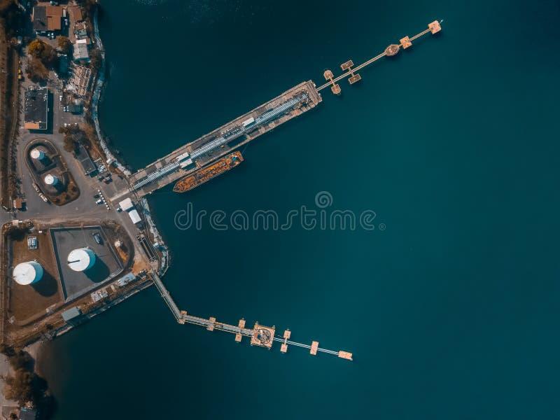 Visualizzazione del fuco di una nave nella porta fotografia stock libera da diritti