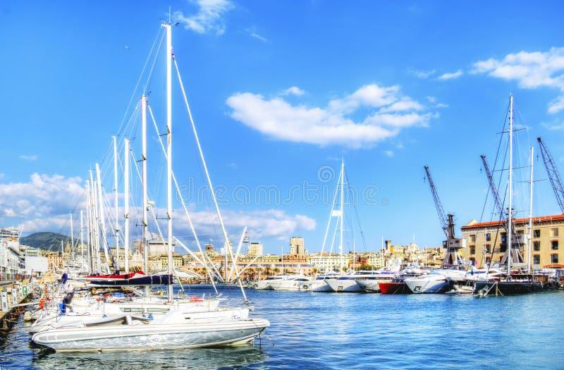 Visualizzazione del porto di Genova fotografia stock libera da diritti