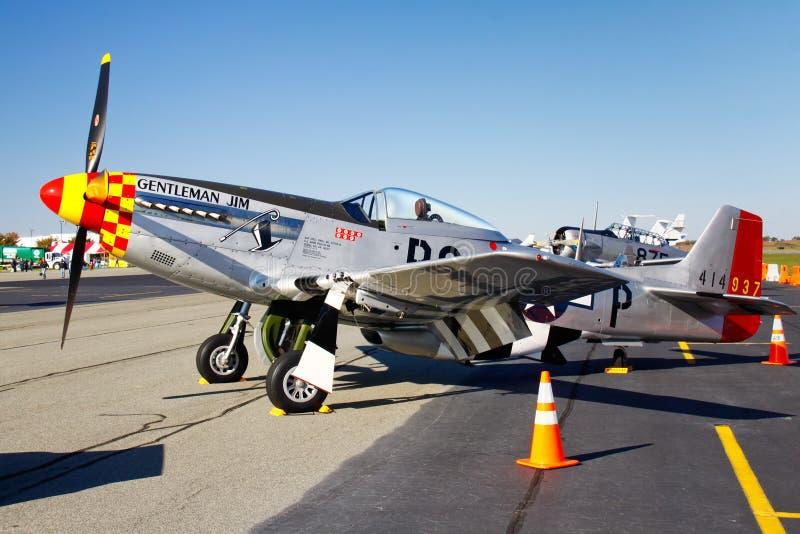 Visualizzazione dell'aereo di combattimento del mustang di P-51D fotografia stock libera da diritti
