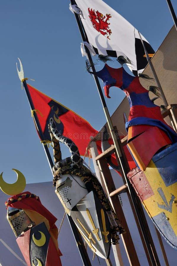 Visualizzazione medioevale dei cavalieri fotografie stock