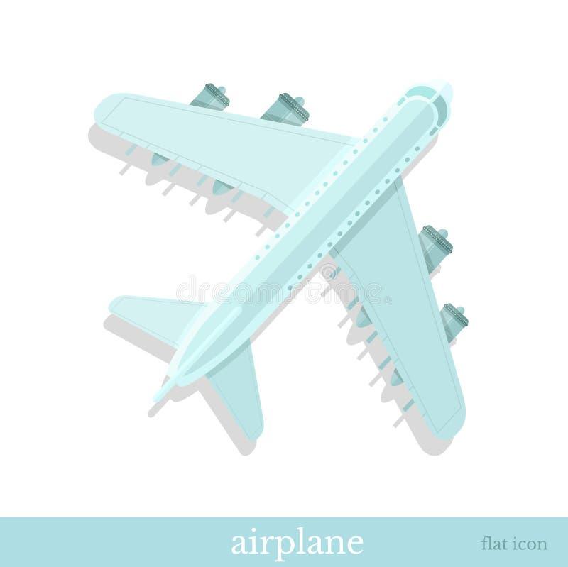 Visualizzazione oggetto piana della cima dell'aereo dell'icona illustrazione di stock