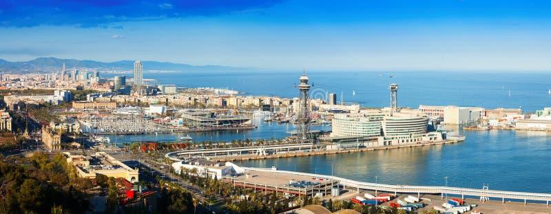 Visualizzazione panoramica di Barcellona con porta fotografie stock libere da diritti