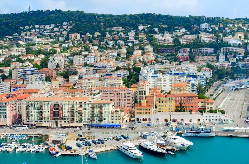 Visualizzazione scenica da sopra di porta di Nizza, Francia immagini stock libere da diritti