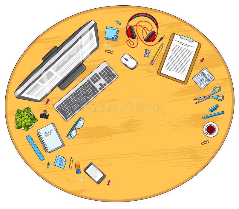 Visualizzazione superiore del lavoro dell'area di lavoro di legno dello scrittorio con il computer del PC e molto la o royalty illustrazione gratis