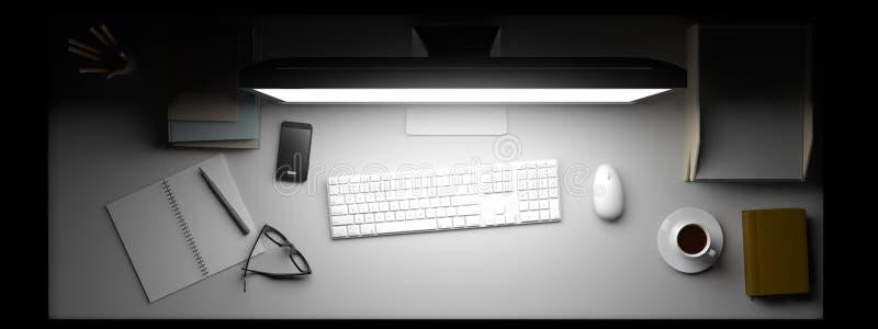 Visualizzazione superiore di area di lavoro con il computer e di altri elementi sulla tavola immagine stock libera da diritti