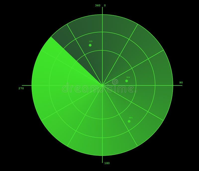 Visualizzazione verde del radar illustrazione di stock
