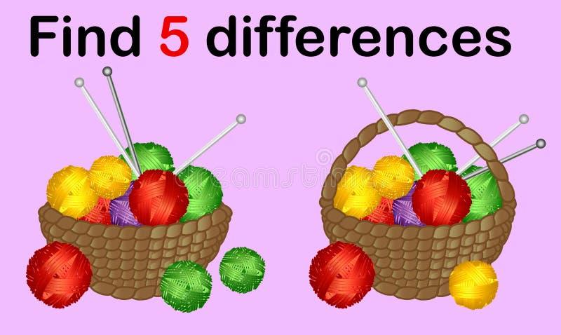 visueel spel voor jong geitjeonderwijs Eenvoudig niveau van moeilijkheid Gemakkelijk onderwijsspel Taak en antwoord garen stock illustratie