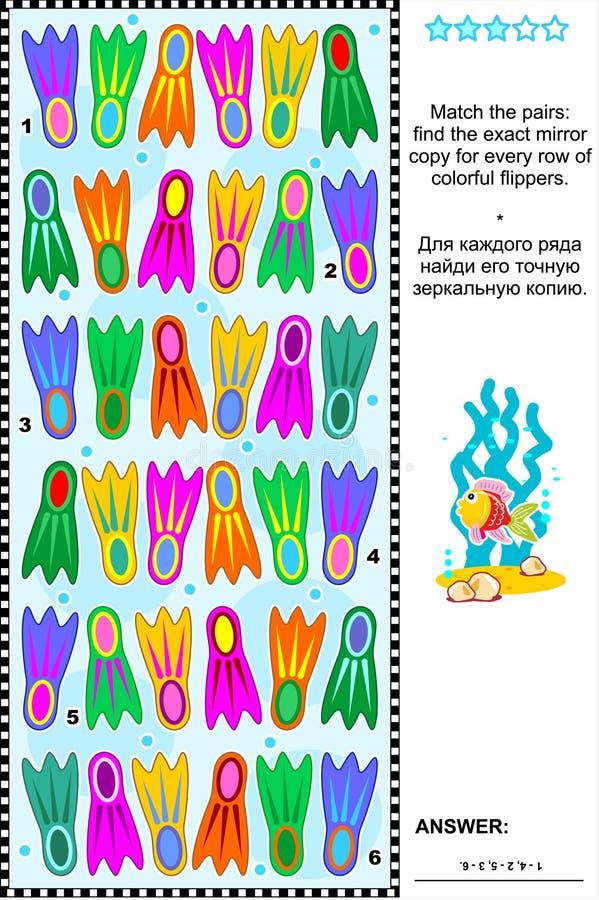 Visuele riddle met rijen van kleurrijke vinnen royalty-vrije illustratie