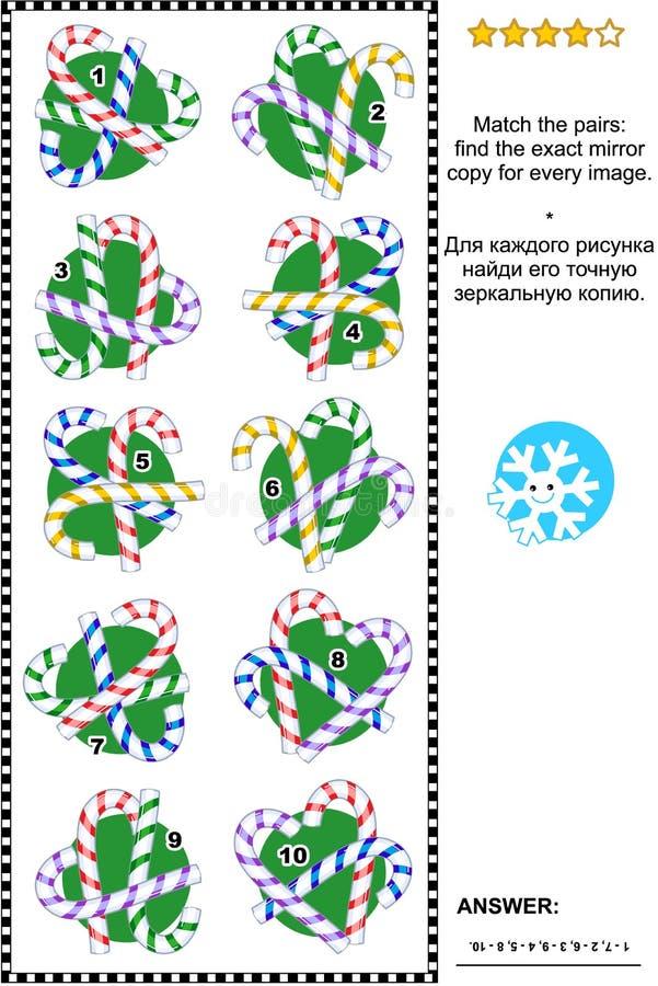 Visuele riddle met suikergoedriet royalty-vrije illustratie