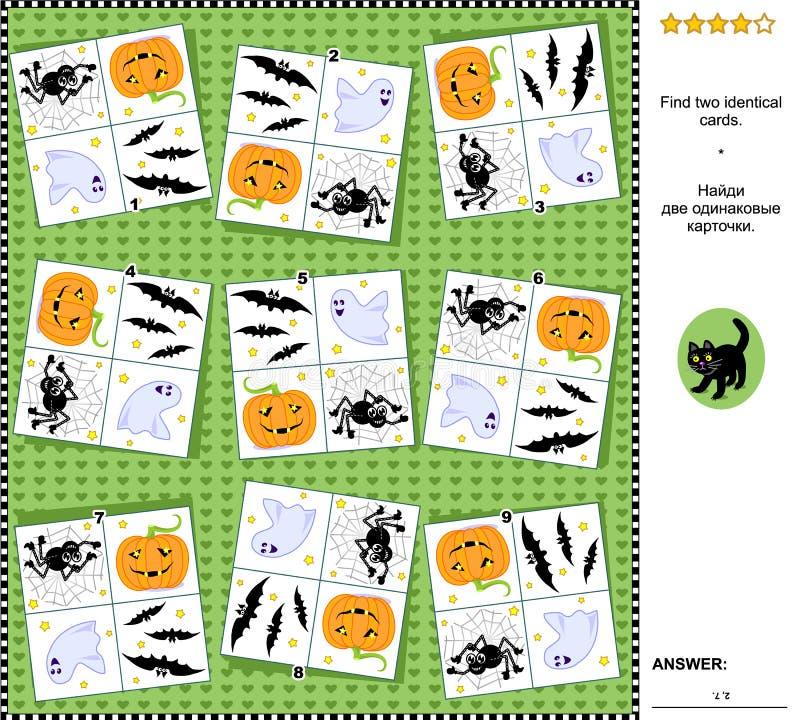 Visuele riddle - vind twee identieke kaarten met Halloween-vakantiesymbolen royalty-vrije illustratie
