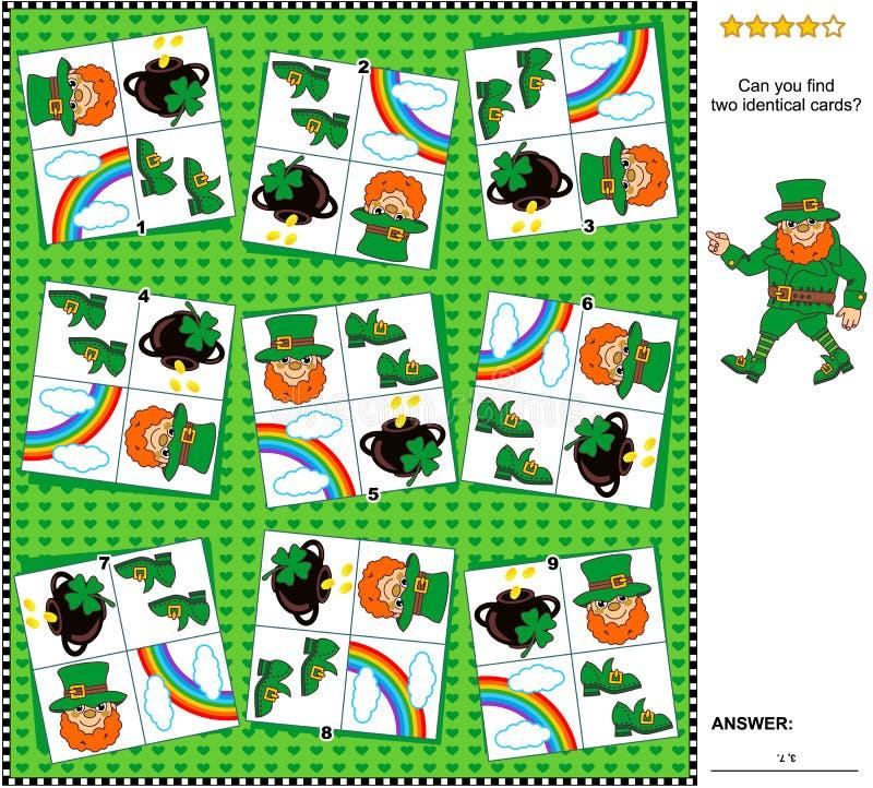 Visuele riddle - vind twee identieke kaarten met St Patrick ` s Dagsymbolen vector illustratie