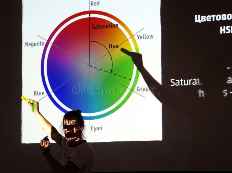 Visuele verklaring van de eigenschappen van het kleurenwiel stock foto