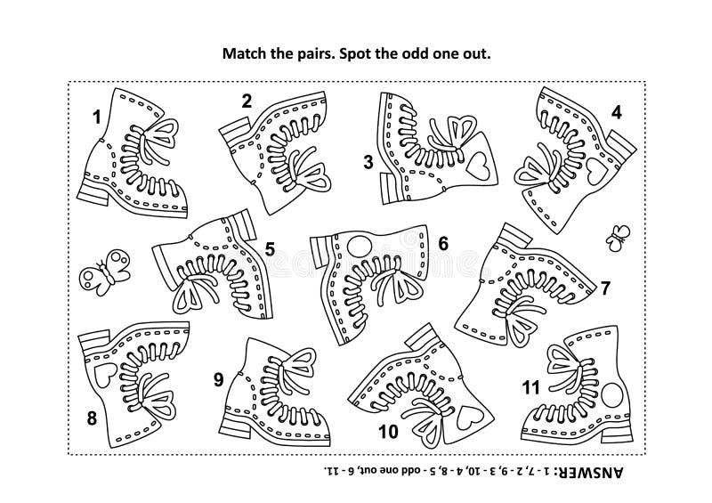 Visuell logikpussel och färgläggningsida med kängor stock illustrationer