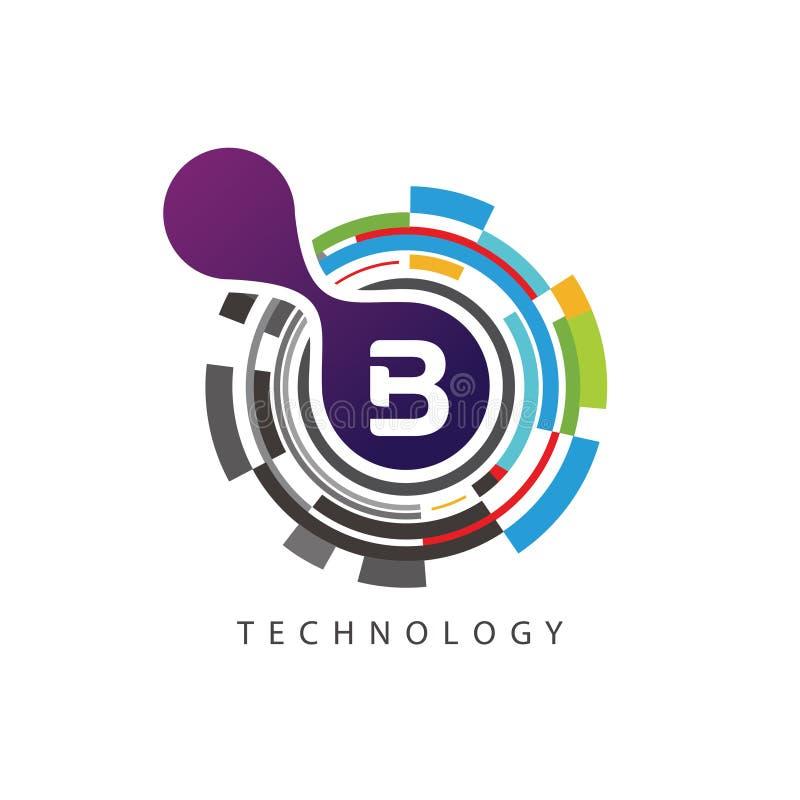 Visuell logo för bokstav för PIXELtechno B royaltyfri illustrationer