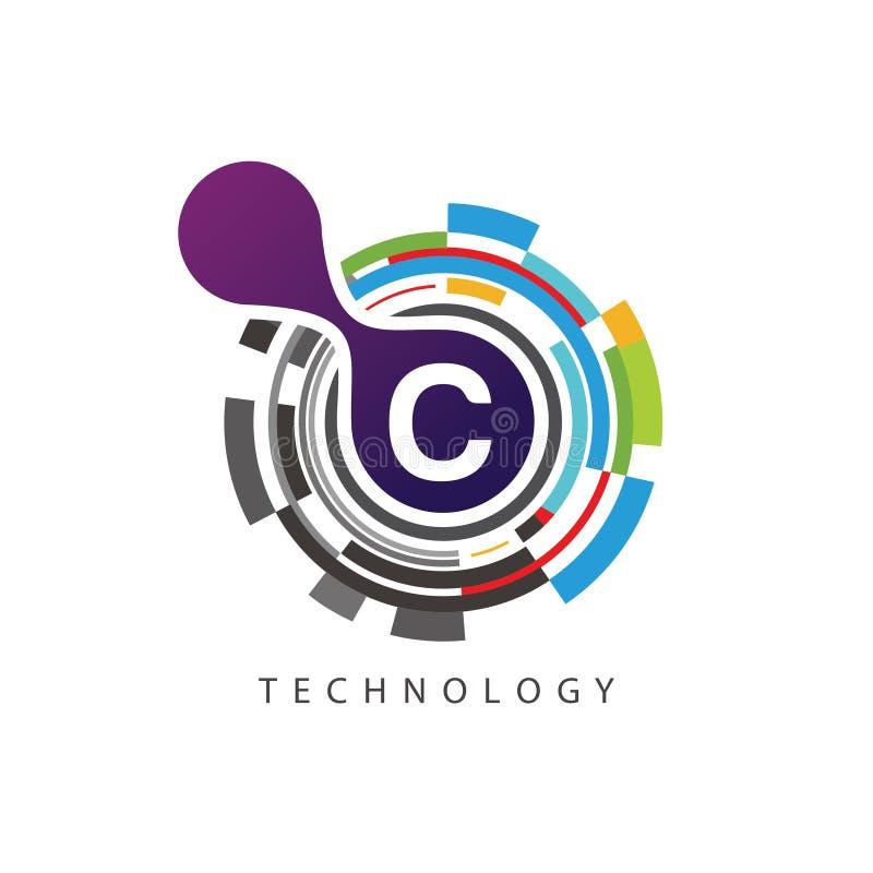 Visuell logo för bokstav för PIXELtechno C vektor illustrationer