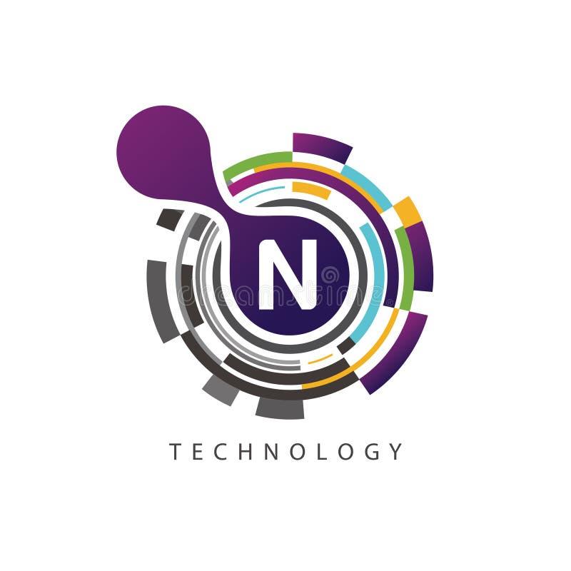 Visuell logo för bokstav för PIXELtechno N stock illustrationer
