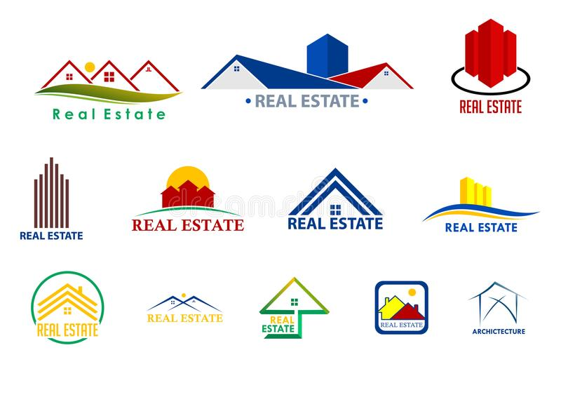 Visuell teknologi och Real Estate Logo Company vektor illustrationer