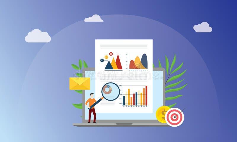 Visuella data som marknadsför begrepp med folk för affärsmannen med förstoringsglaset, analyserar datagraf- och diagramfinans på  stock illustrationer