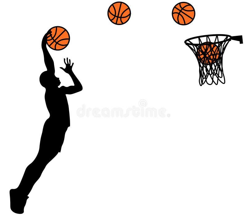 Visuellt dra basketsport och förkläde på snabbt av hastighet på stadion, färgrik härlig designstil på vit bakgrund royaltyfri illustrationer
