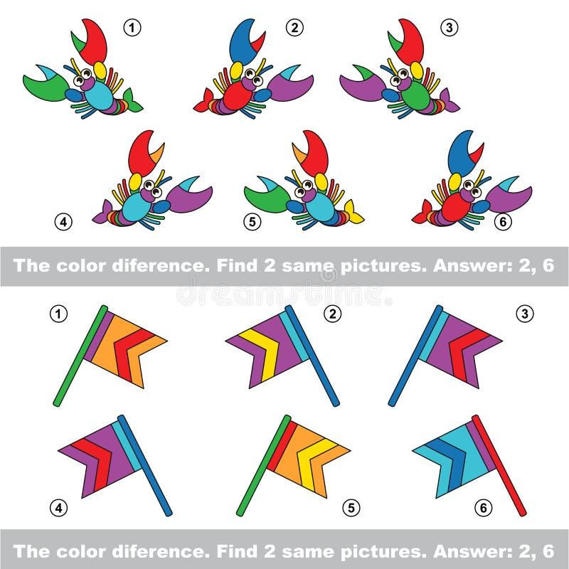 Visuellt hjälpmedellek Fynd dolde par av hummer och flaggor vektor illustrationer