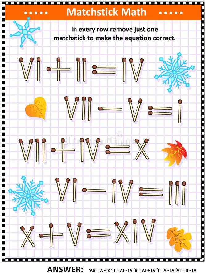 Visuellt matematikpussel med roman tal och matchsticks royaltyfri illustrationer