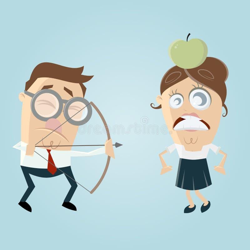 Visuellt nedsatt man som siktar på en kvinna med ett äpple på hennes huvud royaltyfri illustrationer
