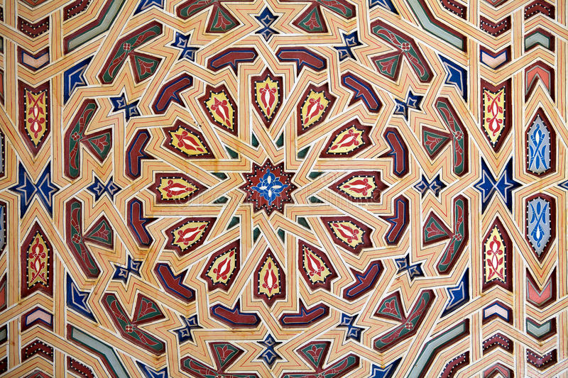 Visula pattern decoration. Visual pattern decoration in the Mosque of Erfoud. Erfoud is an oasis town in the Sahara Desert, in the Meknès-Tafilalet of the royalty free stock images