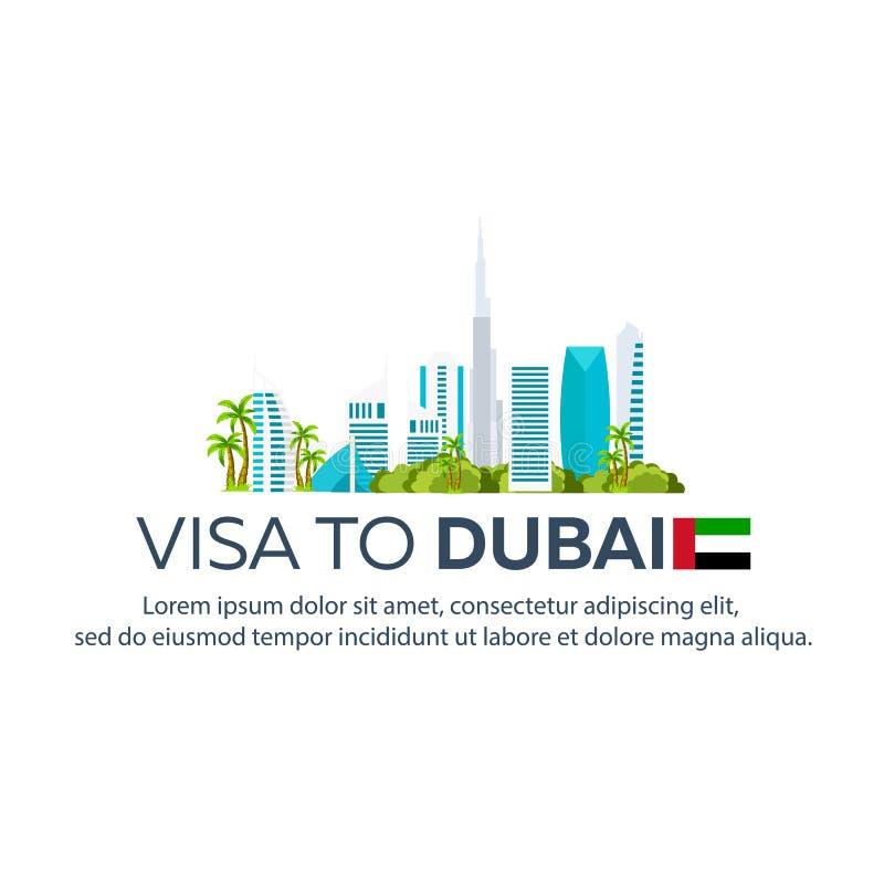 Visum aan Doubai Reis naar Doubai Document voor reis Vector vlakke illustratie stock illustratie