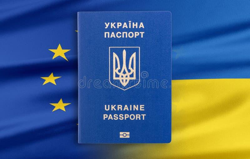 Visum-fritt styre mellan Ukraina och den europeiska unionen - begrepp royaltyfri illustrationer
