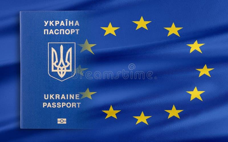 Visum-fritt styre mellan Ukraina och den europeiska unionen - begrepp stock illustrationer