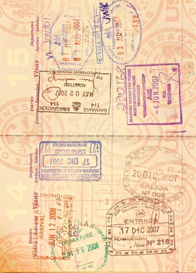 Visum in het Paspoort van de V.S. stock fotografie