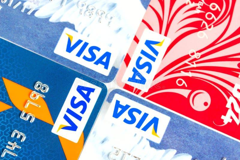 Visumcreditcard stock foto's