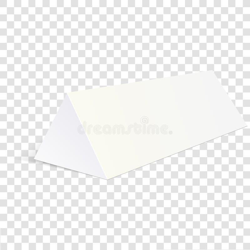 Vitåtlöje upp emballage för papptriangelask för mat, gåva eller andra produkter Vektorillustration på genomskinlig backgro royaltyfri illustrationer
