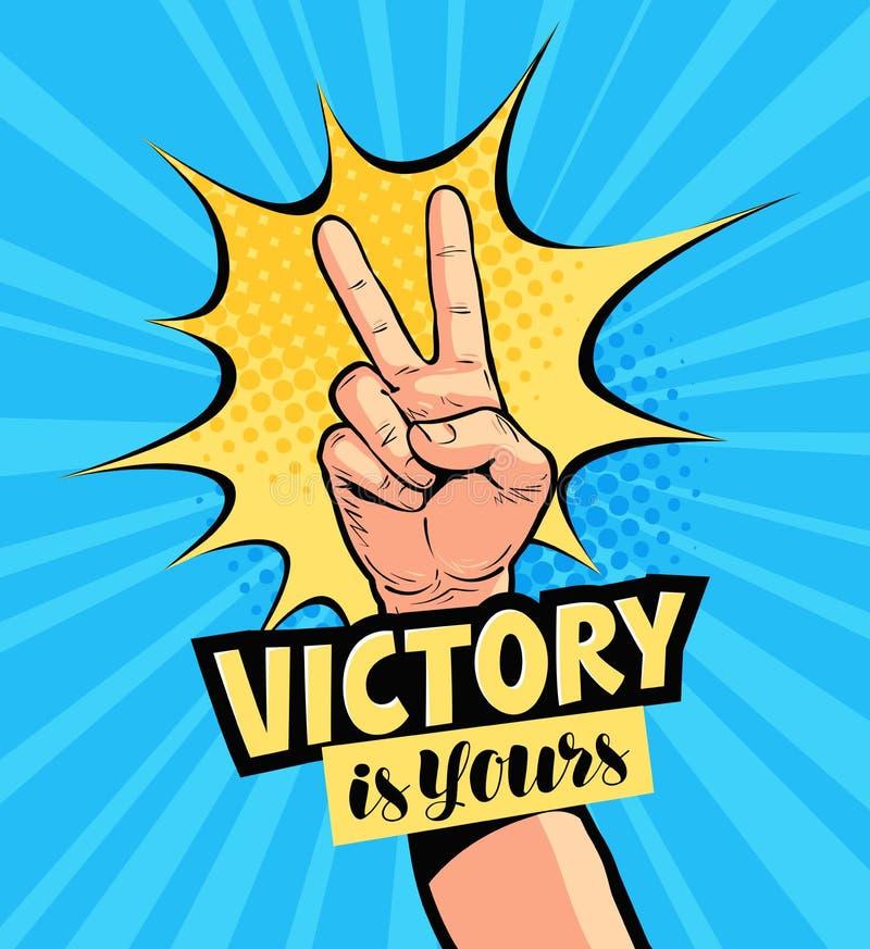 A vitória é a vossa, rotulando Cartaz da motivação, tirado no estilo cômico retro do pop art Ilustração do vetor dos desenhos ani ilustração royalty free