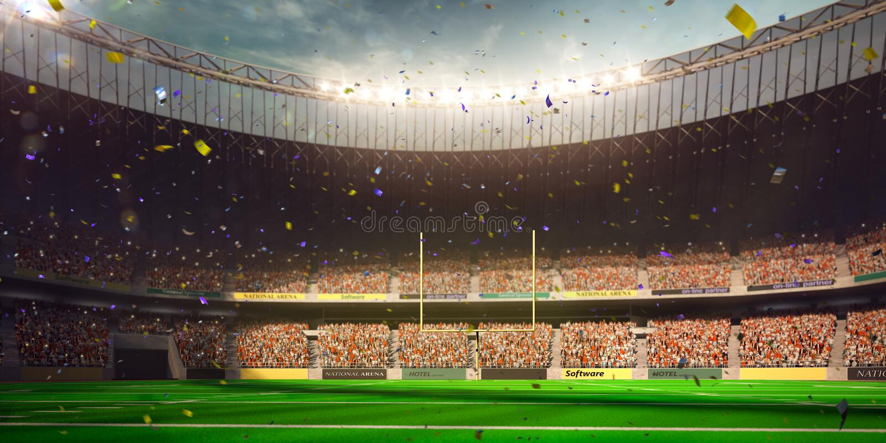 Vitória do campeonato do dia do estádio da arena do futebol imagem de stock