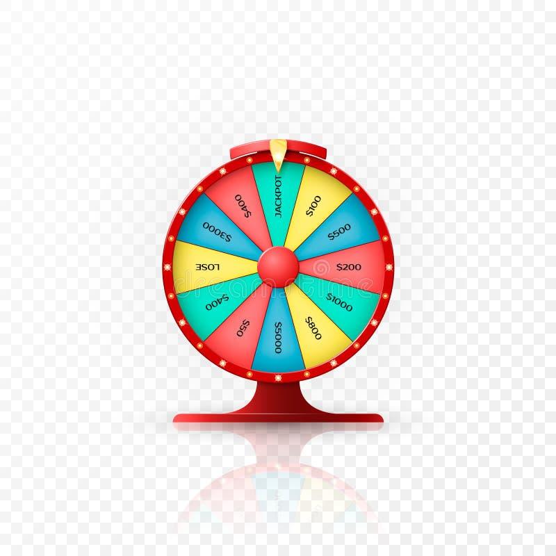 Vitória do jackpot na roda da fortuna Roda da fortuna no fundo transparente Ilustração do vetor ilustração royalty free