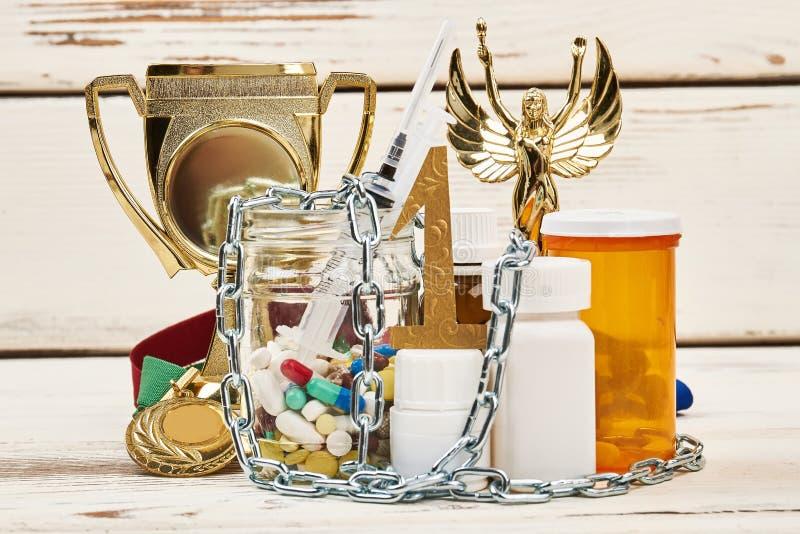Vitória e medicamentações proibidas foto de stock