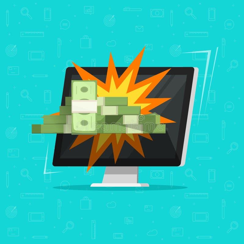 Vitória em linha do dinheiro na ilustração do vetor do computador, no computador de secretária liso e no presente do dinheiro, co ilustração do vetor