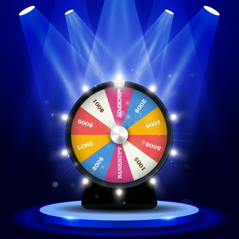 Vitória grande da loteria - jackpot na roda da fortuna, jogando ilustração stock
