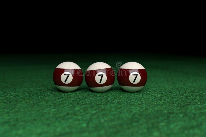 Vitória, número sete, três bolas de bilhar no feltro do verde fotografia de stock royalty free