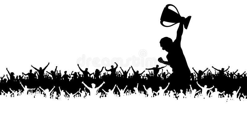 Vitória no copo do campeonato, multidão cheering de fãs de esportes ilustração royalty free