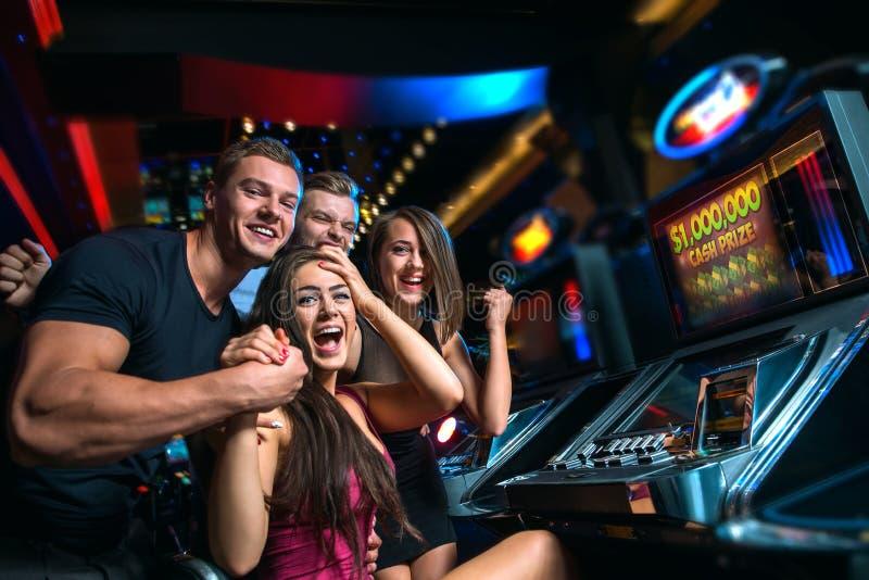 Vitória no slot machine imagem de stock