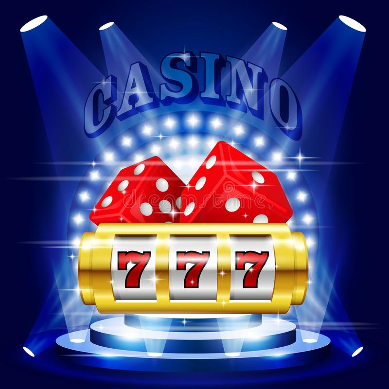Vitória ou jackpot grande - 777 no slot machine, casino ilustração stock